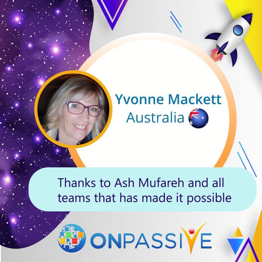 Yvonne Mackett ONPASSIVE Testimonial