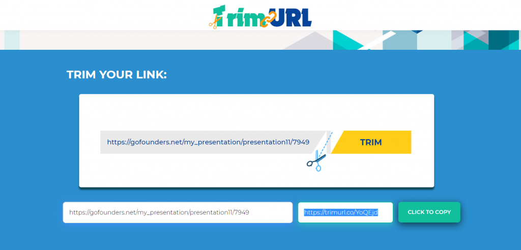 Trim URL Website