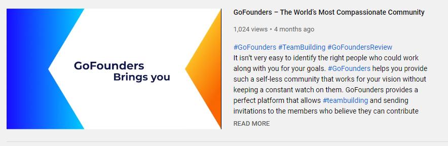 GoFounders Youtube