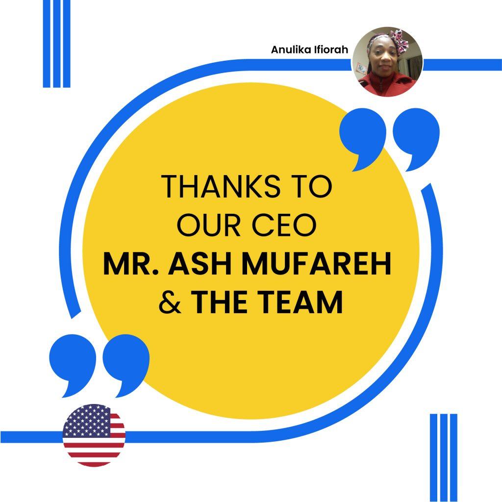 OUR CEO MR. ASH MUFAREH