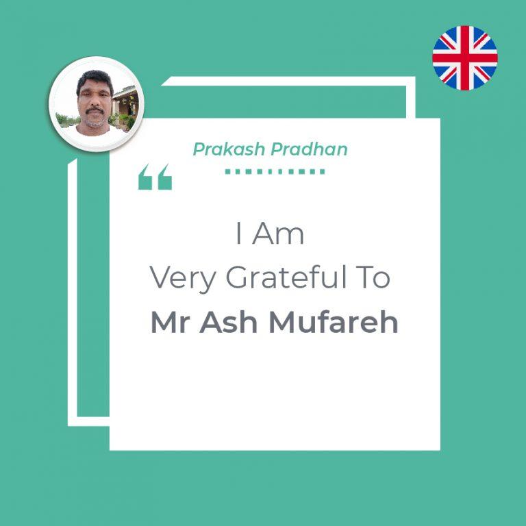 Very Grateful To Mr. Ash Mufareh