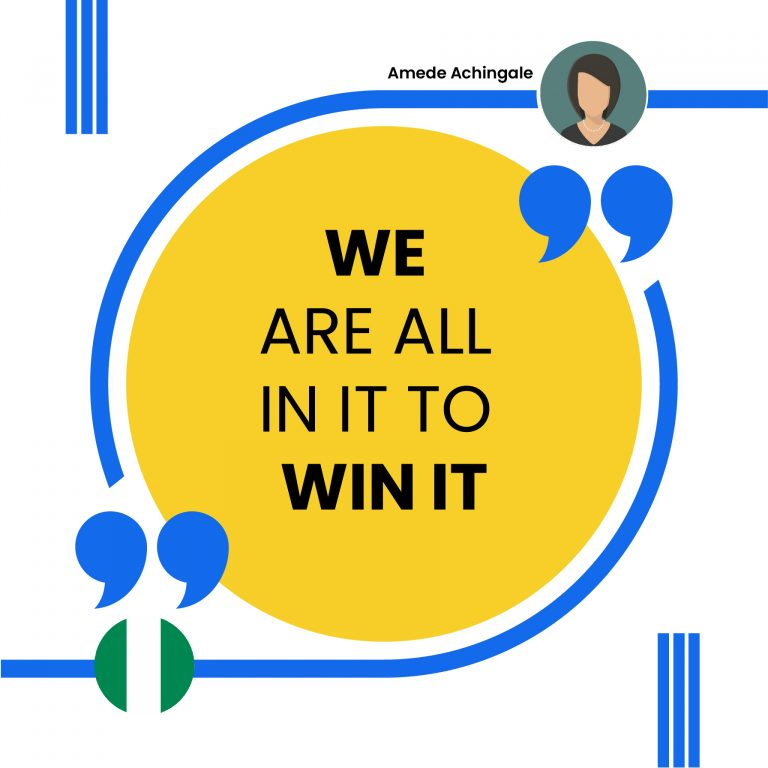 WE ARE ALL IN IT TO WIN IT