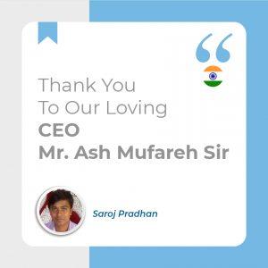 Thank You To Our Loving C.E.O Mr. Ash Mufareh